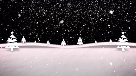 Festive Christmas winter landscape shows snow in a forest setting. Plenty of room for placement of copy. Stok Video