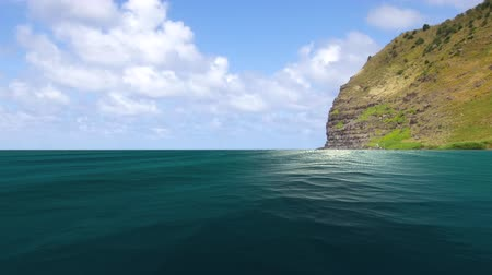 A glimmering tropical ocean with light flickering off the surface faces a tropical island in Hawaii during daytime.