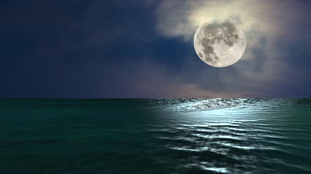 Animated video showing a low, full moon glistening over the ocean with beautiful reflections off the waters surface at night. Stok Video