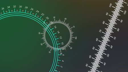mezun : Animated circular and straight rulers move against a green gradient background.