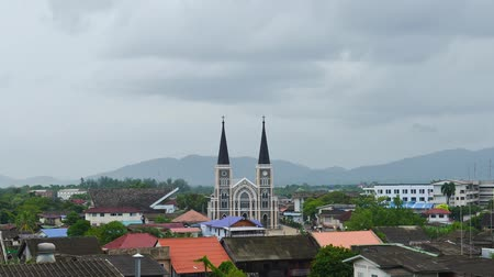 the conception : Timelapse raining strom at The Catholic Church of Chanthaburi, The most Beautiful Church in THAILAND