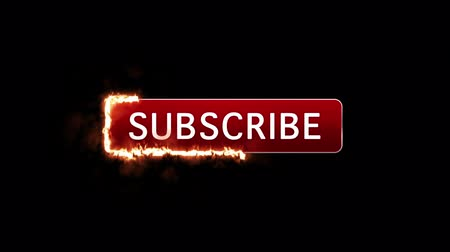 Animated subscribe button with mouse click surrounded by fire. Transparent background with Alpha Channel