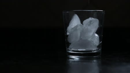 Low key black background placing ice cubes into a glass in preparation of pouring a drink Стоковые видеозаписи