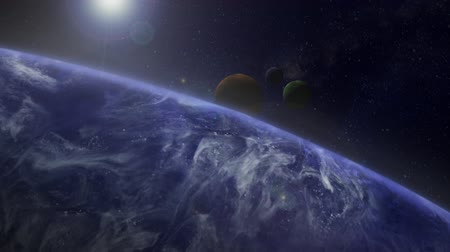 Animation of space and planets with stars clouds lens flares Стоковые видеозаписи