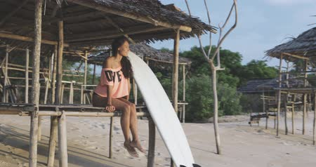 markiza : young pretty fit girl or beautiful sexy woman or female surfer sitting on beach or coast with her surfboard, fixing her hair, small white dor is nearby. great weather, evening time, sunset, travel and vacation