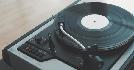 gramophone : Loop Vintage Vinyl Turntable Record Player Stock Footage