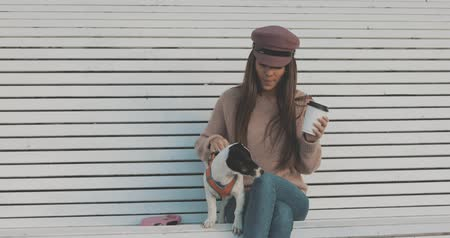 привязь : Pretty caucasian woman with dog jack russell terrier sitting on bench and drinking coffee. Cute little puppy 4K video shooting