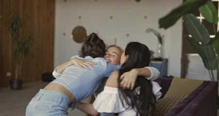 atender : Women meeting and hugging at home , 4k footage Stock Footage