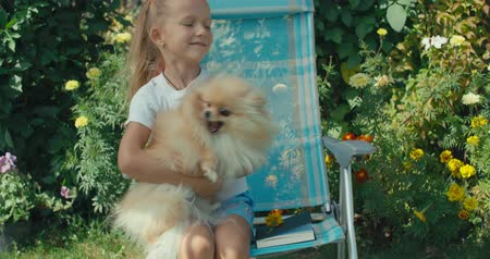 likken : Little pretty girl sitting in chair, looking notebook with herbarium. Sunny day, summer house. Interesting hobby. Funny dog playing with kid. 4k raw slow motion footage video 60 fps Stockvideo