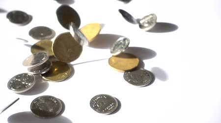 yuvarlak : Slow Motion Canadian Coins Falling Out Of Sky On White Surface