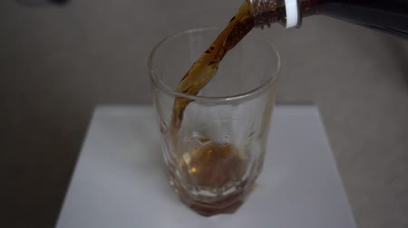 fizzing : Spilling Cola Coke Rootbeer Into Glass Then Finishing Slow Motion