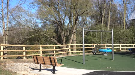 trener : 4K Outdoor Playground Swingset With Trees Panorama Left To Right