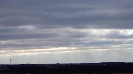 coulds : Timelapse Clouds With Sunrays In Morning Wider Angle Frame Stock Footage