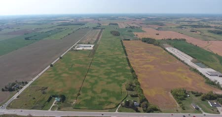 irrigate : Aerial of Farm North West With Farm Roads And Car Traffic