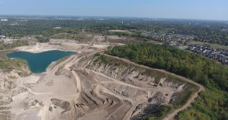 depleted : Aerial Huge Gravel Pit Rotate 90 Degrees Stock Footage