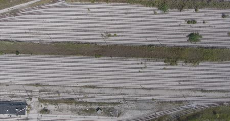abandonment : Railroad Tracks Vacant Aerial Flyover Sideways Stock Footage