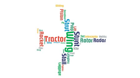 bezmotorové létání : Airplane Aerodome Air Gliding Word Cloud Animation White Background Dostupné videozáznamy