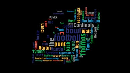 luke : American Nfl Football League Word Cloud Animation On Black Background