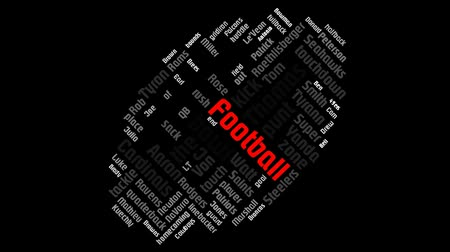 halfback : American NFL Football League Word Cloud Animation Red Football Text Design Word On Black Background