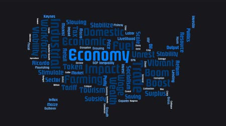 yeniden yapılanma : Economic Map Of USA Word Cloud Text Stok Video