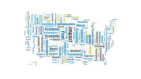 yeniden yapılanma : Economy Graph USA Business Word Cloud Text Stok Video