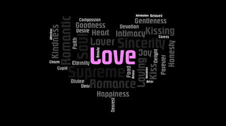 companionship : Heart Shaped Pink Love Word On Black Background Word Cloud Text Design Animation