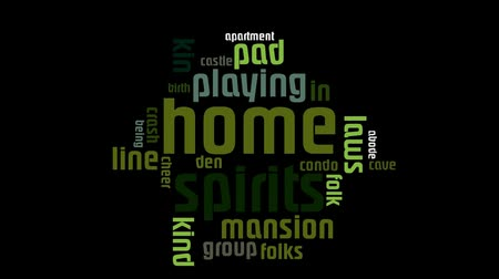 pessoal : Home And Family Green Text On Black Background Word Cloud Vídeos