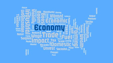 kertészet : Map Of United States World Global Economic Word Cloud Animation Text Stock mozgókép