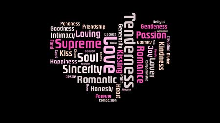 supremo : Valentine Heart Shaped Pink Love On Black Background Word Cloud Text Design Animation