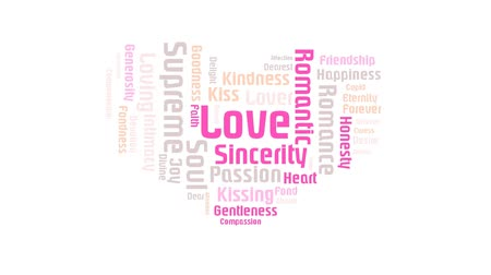 supremo : Valentine Heart Shaped Pink Love On White Background Word Cloud Animation