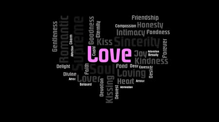 companionship : Valentine Heart Shaped Pink Love Word On Black Background Word Cloud Animation Stock Footage