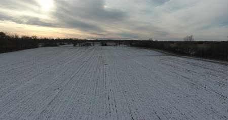 lombhullató : Flying Over Farmers Field With Snow On The Ground Stock mozgókép