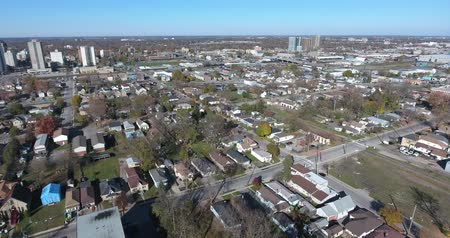 poverty city : Flying Over Single Family Homes Economy 4K