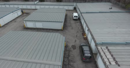 self storage : Flying Straight Up Over Storage Facility Aerial View 2
