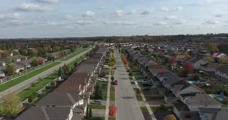 szerény : Houses And Yards Aerial View Flying Straight Up 4K