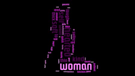 fearless : Woman Word Cloud Video Animation Pink Text On Black Background