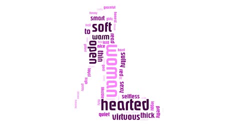 emocje : Woman Word Cloud Video Animation Pink Text On White Background