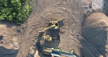 buldozer : Construction Machinery Excavator and Front End Loader Drone Aerial Top Down View