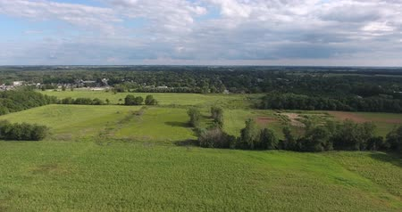 silvicultura : Drone Propellors Flying Over Green Farmers Fields Stock Footage