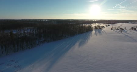 erdészet : Flying Towards Sunset Sun In Winter Over Snow Field Aerial Drone View Stock mozgókép