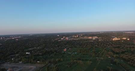 пригород : Forest City Panorama At Dusk Aerial View