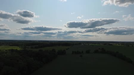 irrigate : Panorama Over Farmland Towards Small Town Beautiful Sky With Clouds Aerial
