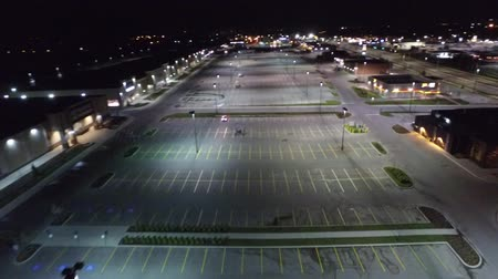 vacant : Strip Mall At Night With Empty Parking Lot Aerial View
