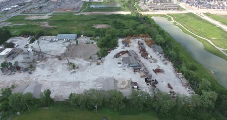 looking down : Construction Company With Cement Material Aerial View