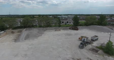 Dump Trucks With Dirt By Conveyer Belt Aerial Drone View Stock mozgókép