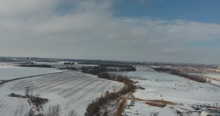 harikalar diyarı : 360 Degree Aerial Panorama In Winter Of Farmland And City In Distance