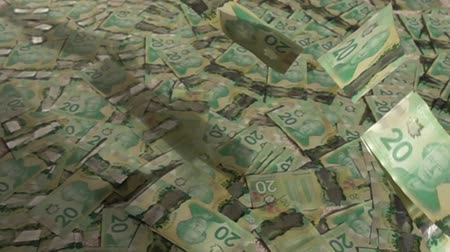 pieniądze : Canadian 20 Dollar Bills Falling On Pile Of Money Slow Motion