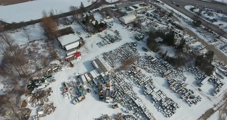 harikalar diyarı : Descending Towards Trucking Shipping Yard In Winter Aerial View Stok Video