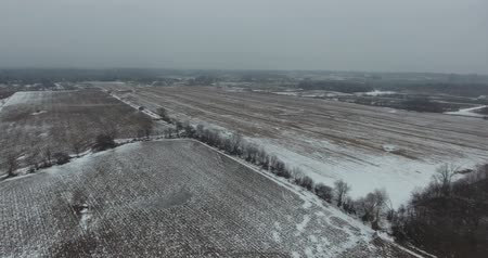 irrigate : First Snowfall Frost On Overcast Day Aerial Panorama