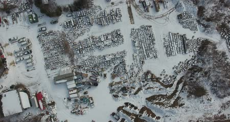 harikalar diyarı : Flying Over Trucking Shipping Area With Lots Of Boxes In Winter Time Aerial Stok Video
